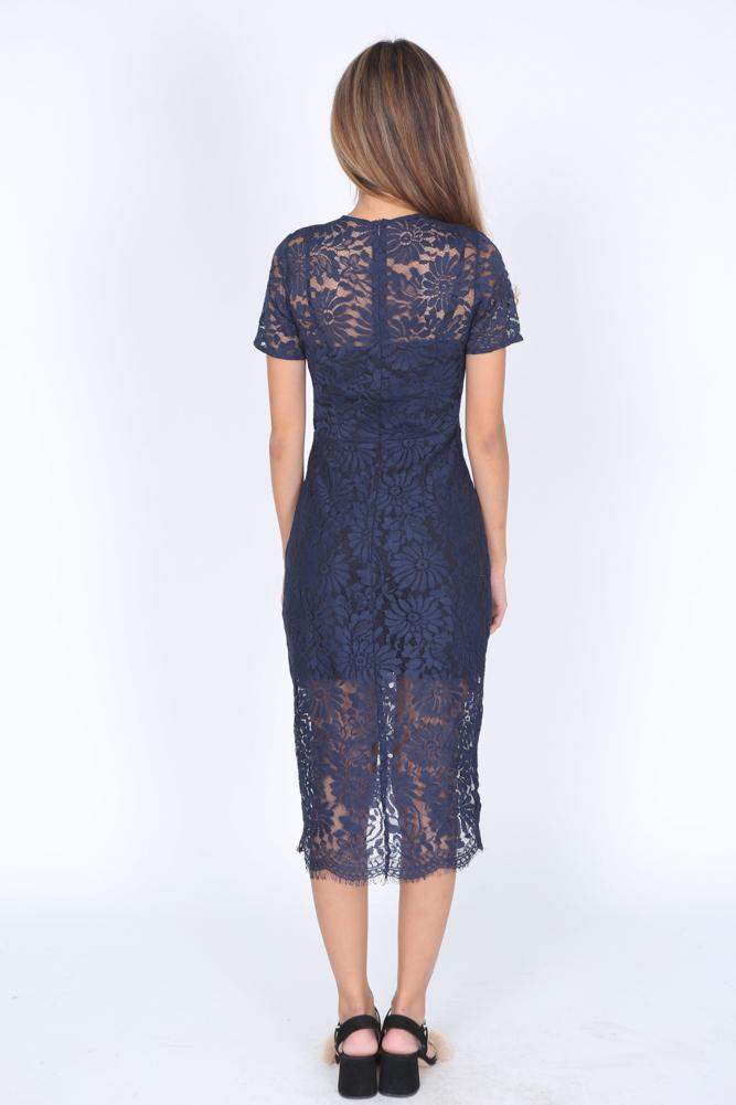 Faustina Dress in Navy
