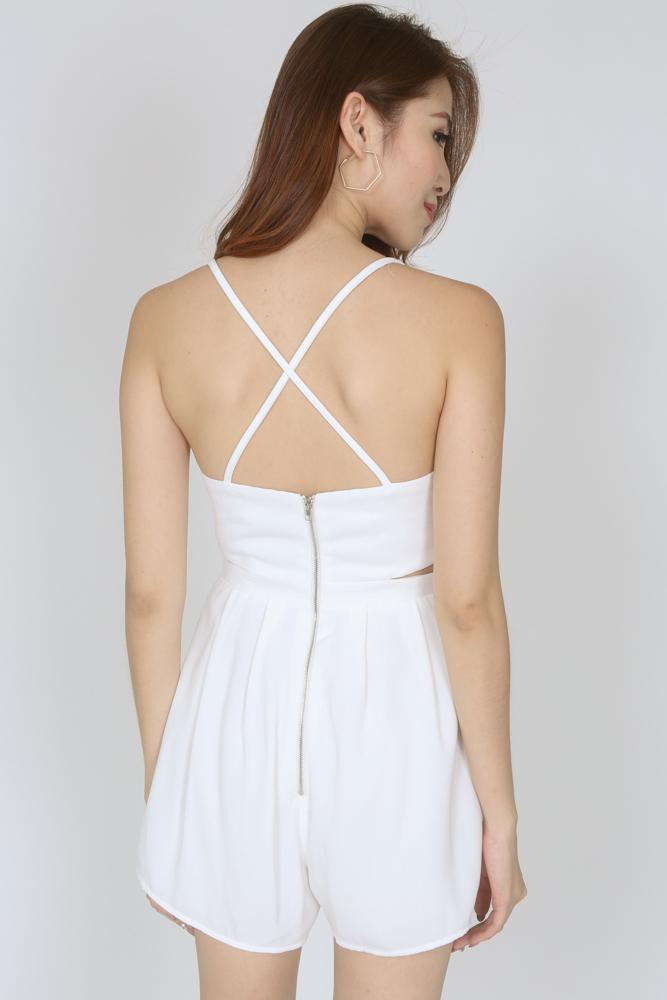 Scalloped Cutout Cami Romper in White