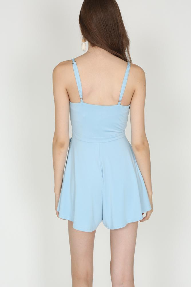 Self-Tie V-Neck Romper in Baby Blue