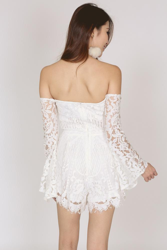Off Shoulder Lace Romper in White