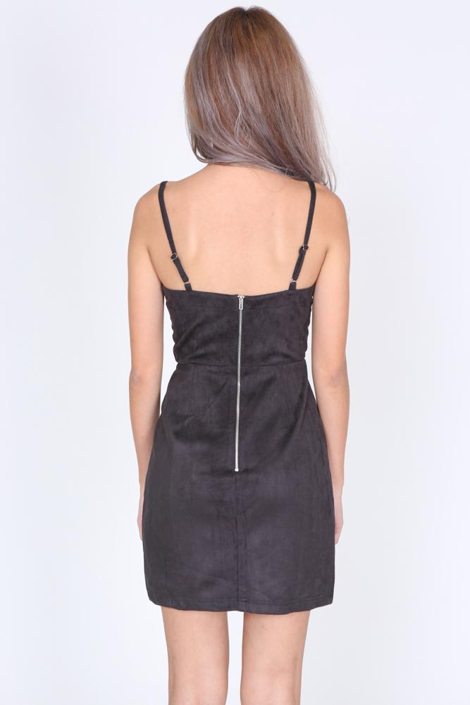 Suede Lace-Up Cami Dress in Black - Arriving Soon