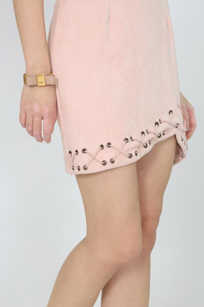 Suede Lace-Up Cami Dress in Blush