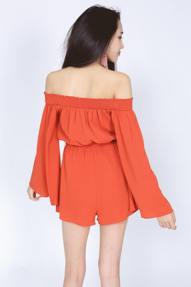 Crepe Off Shoulder Romper in Rust