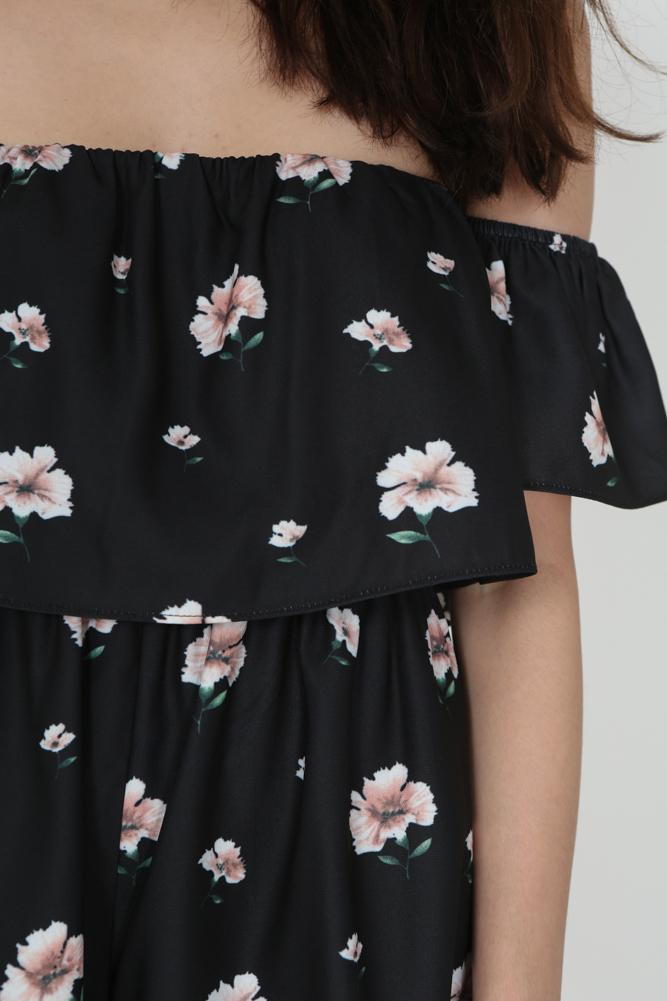 Off Shoulder Floral Romper in Black