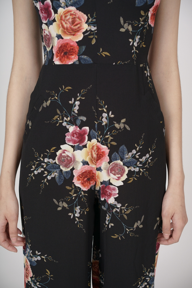 Contemporary Cami Jumpsuit in Black Floral - Arriving Soon