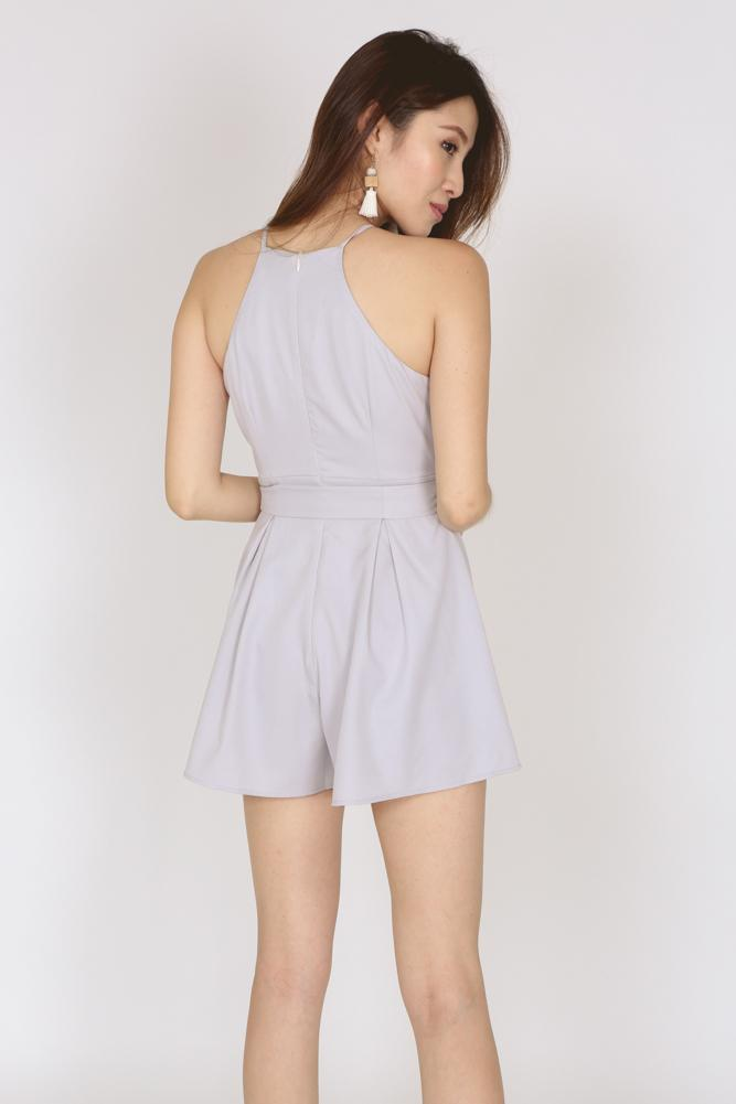 Self-Tie Halter Neck Romper in Grey