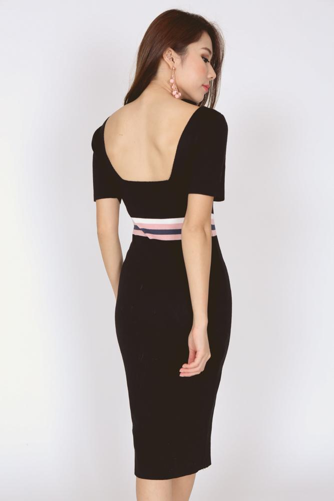 Scoopback Contrast Dress in Black