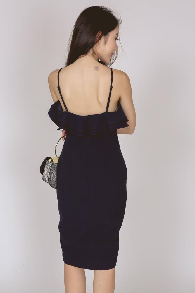 Ruffle Halter Dress in Navy