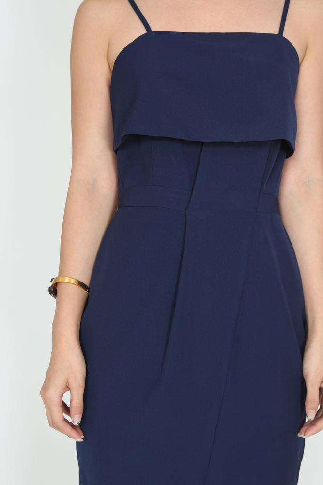 Flounce Layer Cami Dress in Midnight