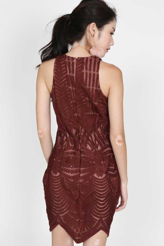 Embroidered Lace Dress in Maroon - Arriving Soon