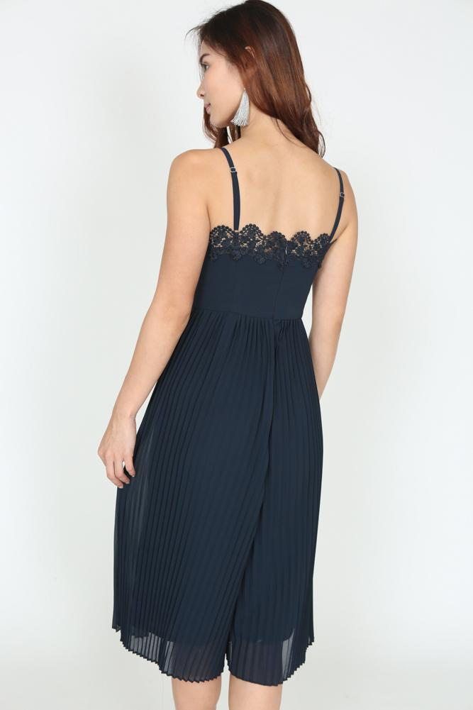Crochet Lace Pleated Jumpsuit in Midnight