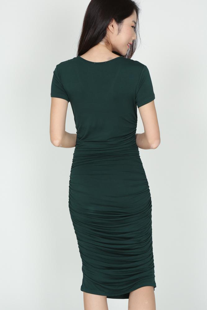 Ruched Midi Dress in Forest Green