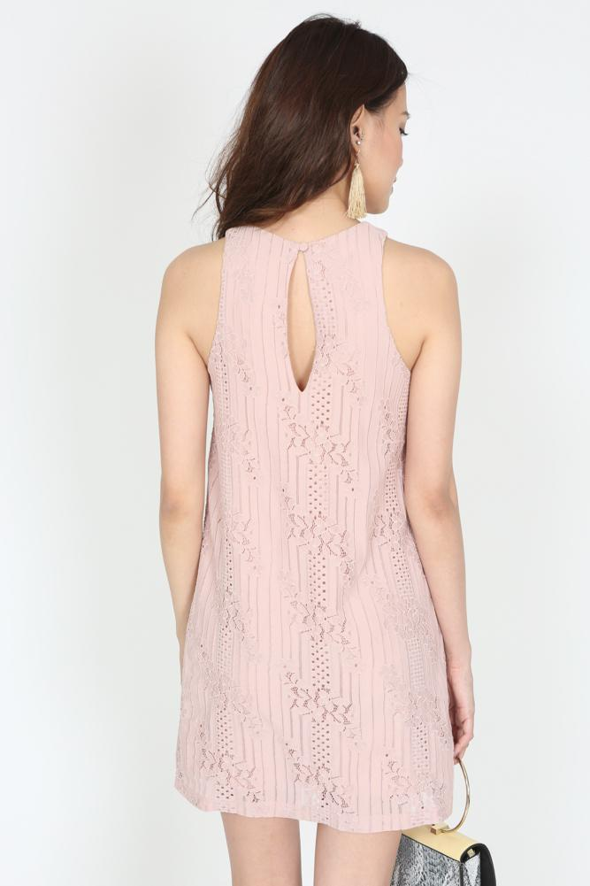 Lace Shift Dress in Blush - Arriving Soon