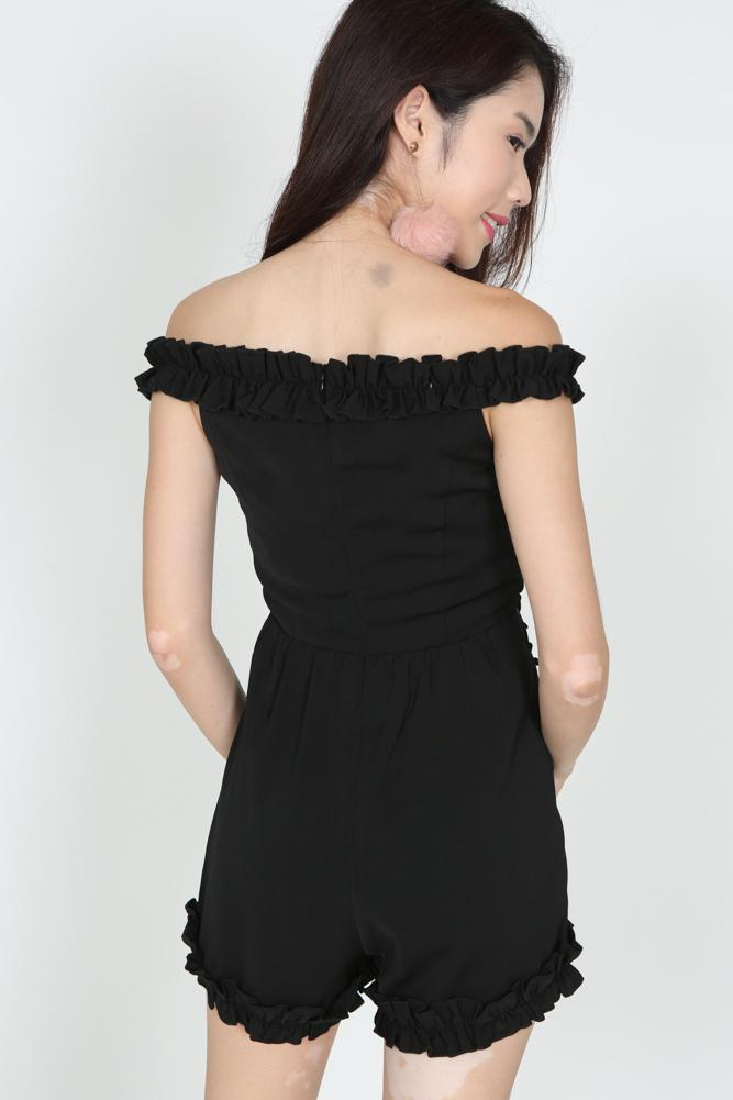 Frilly Ruffle Romper in Black
