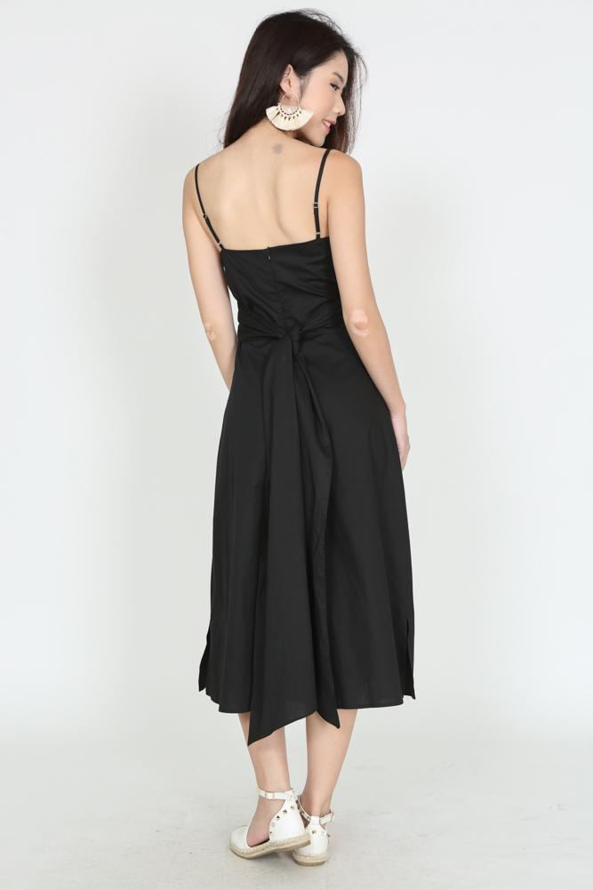 Self-Tie Cami Dress in Black