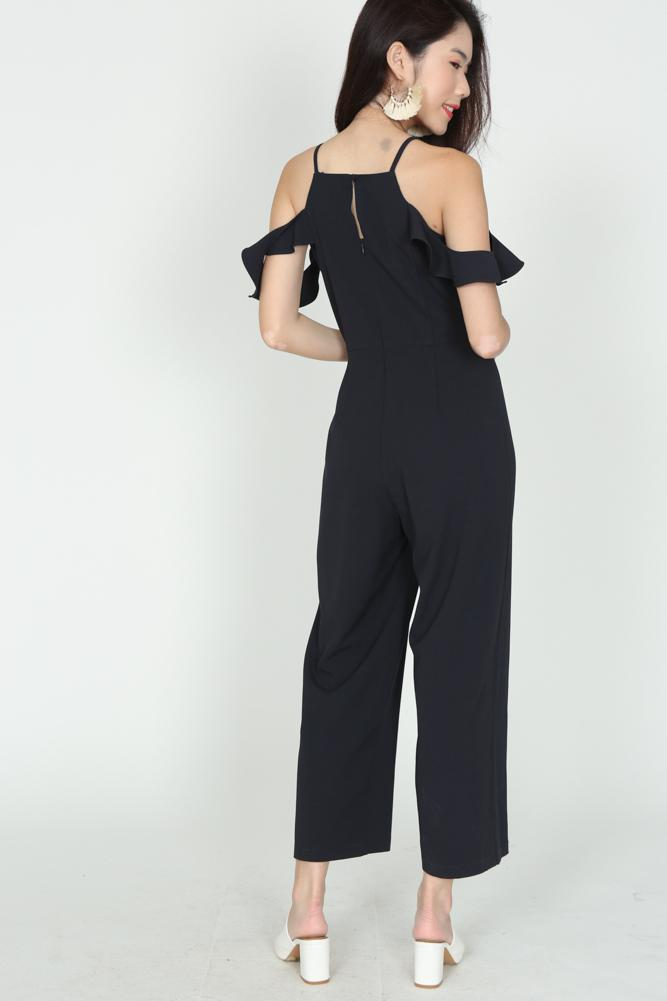 Ruffled Cami Jumpsuit in Midnight