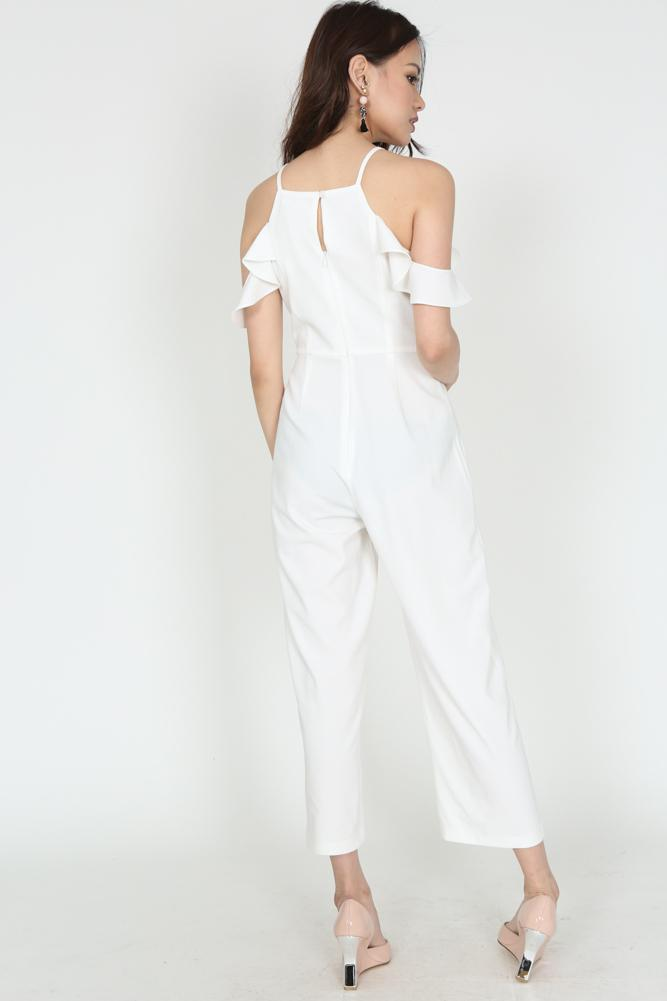 Ruffled Cami Jumpsuit in White