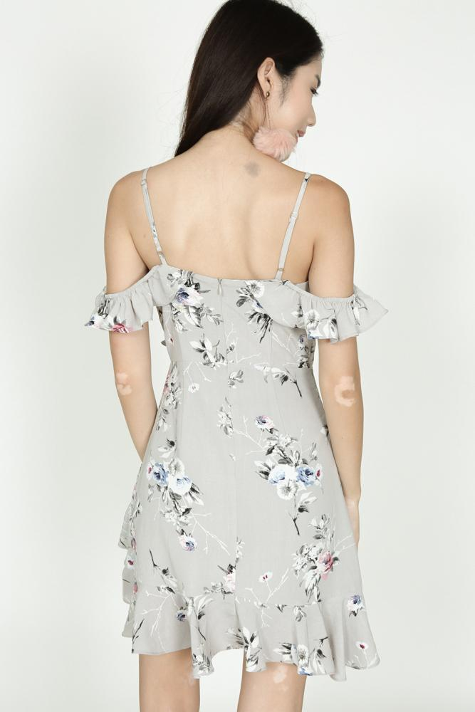 Frill Cami Dress in Grey Floral