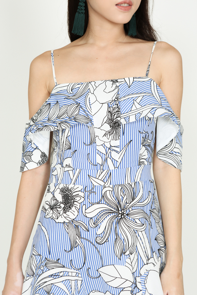 Flounce Flare Dress in Blue Stripes Floral