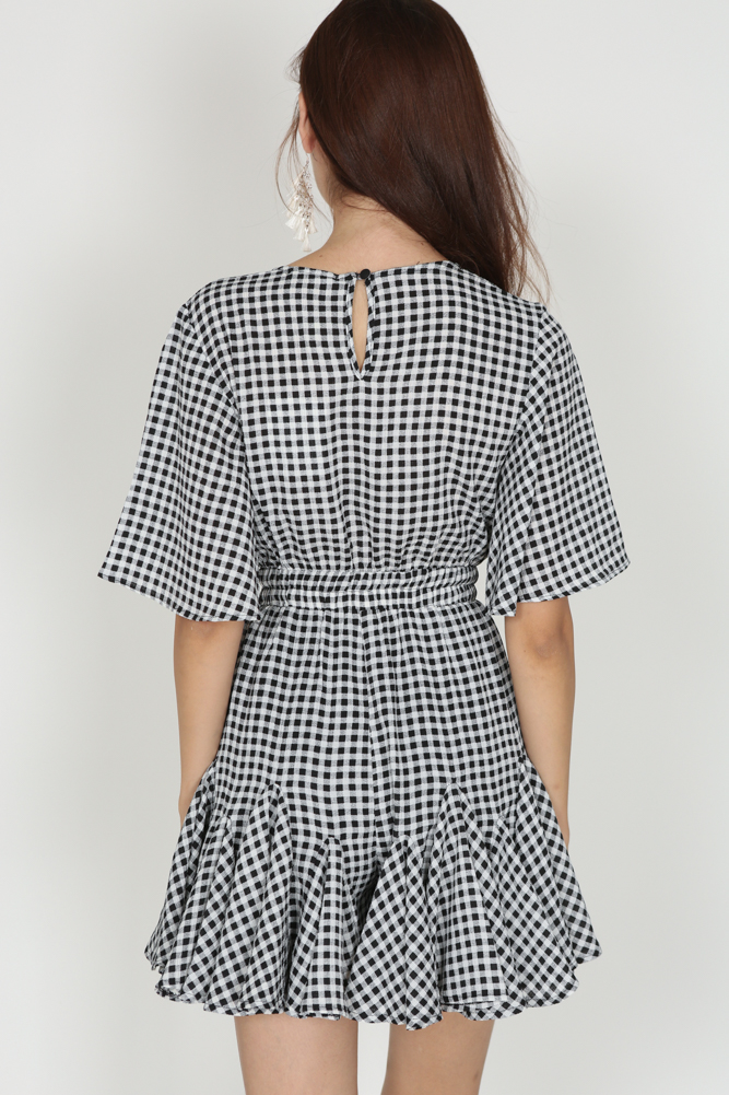 Drawstring Ruffle Romper in Checks - Arriving Soon