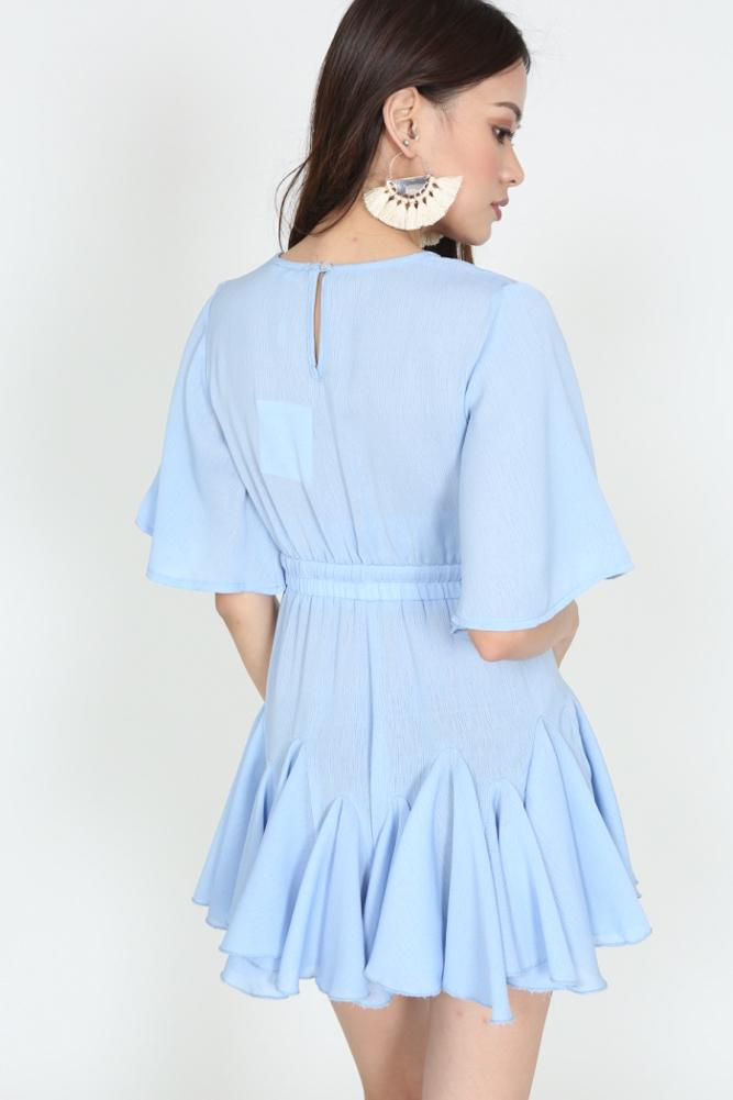 Drawstring Ruffle Romper in Periwinkle