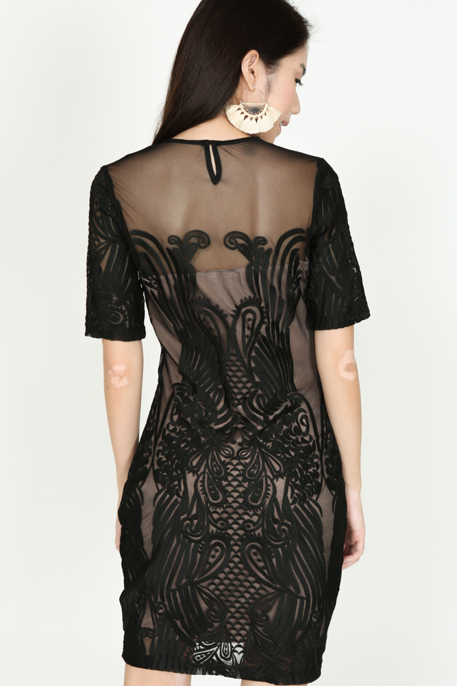Sheer Lace Dress in Black