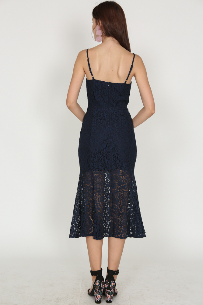 Lace Flare Dress in Midnight