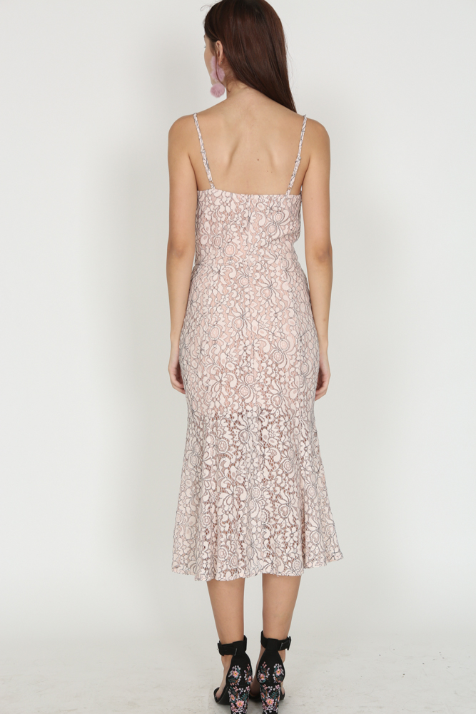 Lace Flare Dress in Nude Pink - Arriving Soon