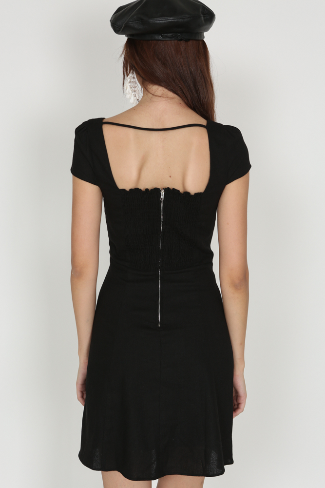 Square-Back Open Dress in Black