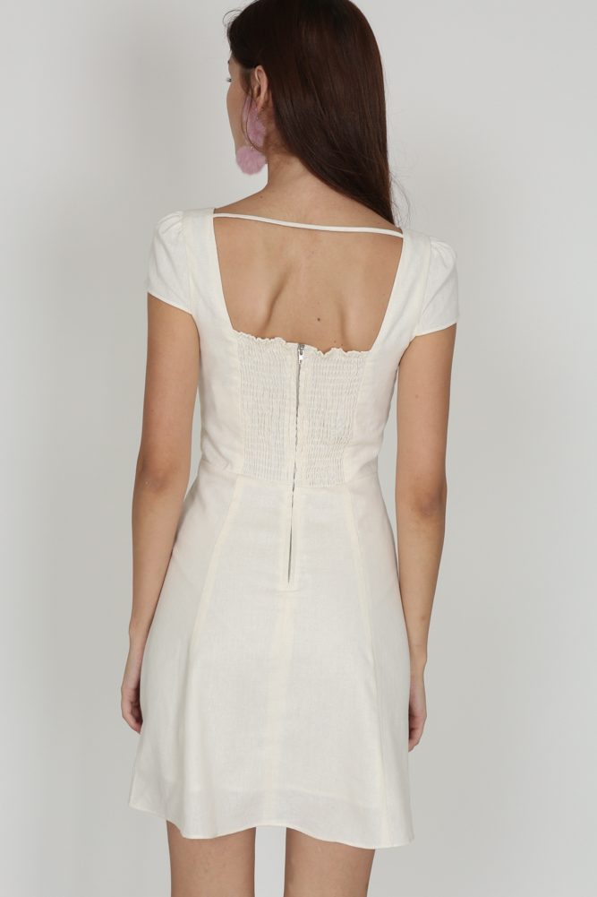 Square-Back Open Dress in Ivory