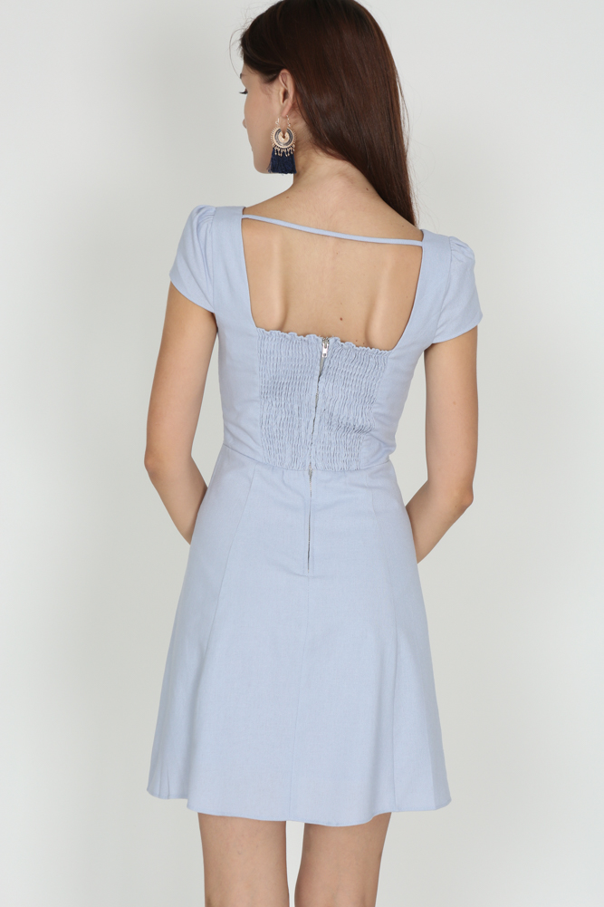 Square-Back Open Dress in Powder Blue