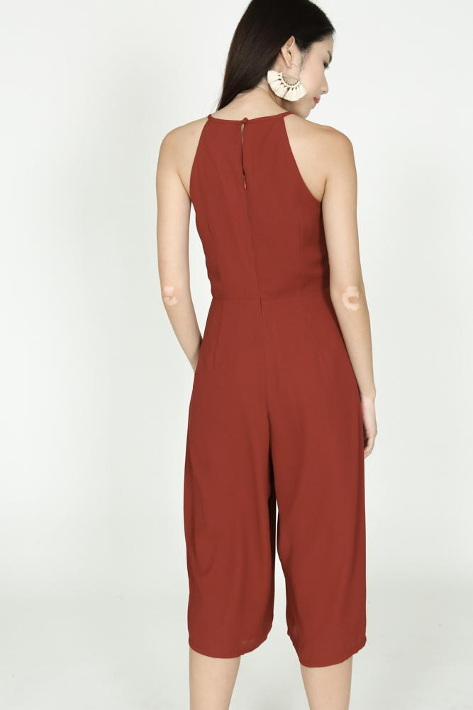 Pleated Cropped Jumpsuit in Maroon