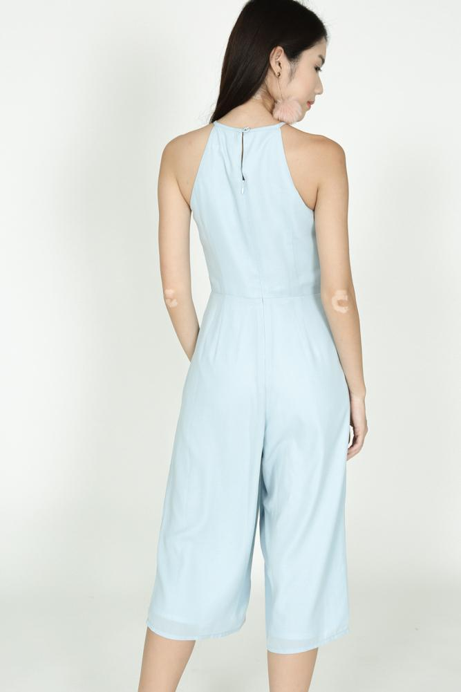 Pleated Cropped Jumpsuit in Powder Blue