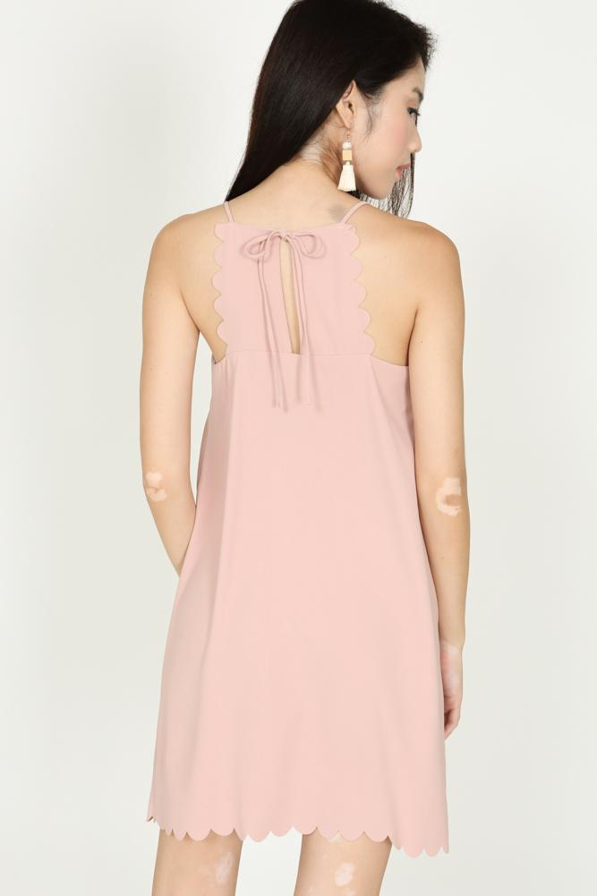 Scallop Halter Dress in Dusty Pink