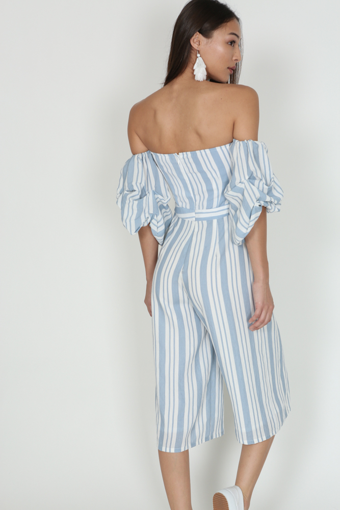 Ruffled Pinstripes Jumpsuit in Blue