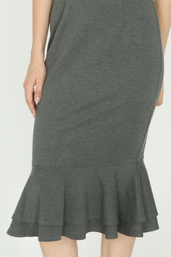 Mermaid Bodycon Dress in Heather Grey - Arriving Soon