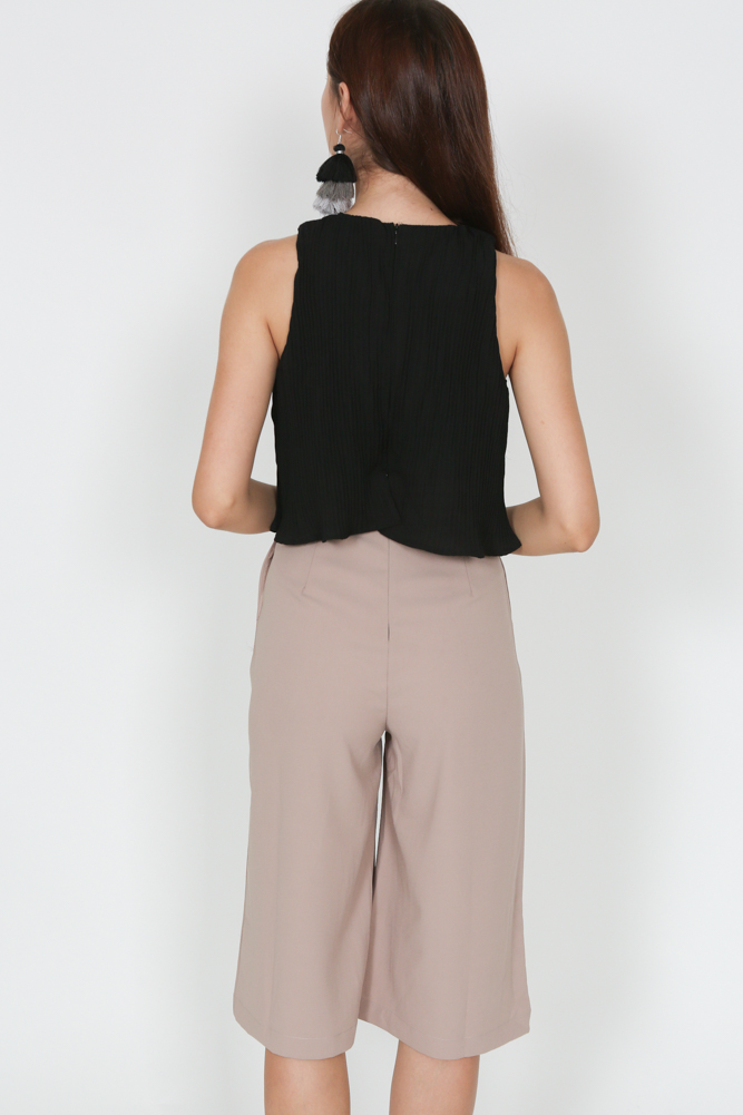 Contrast Ruffle Jumpsuit in Black & Taupe