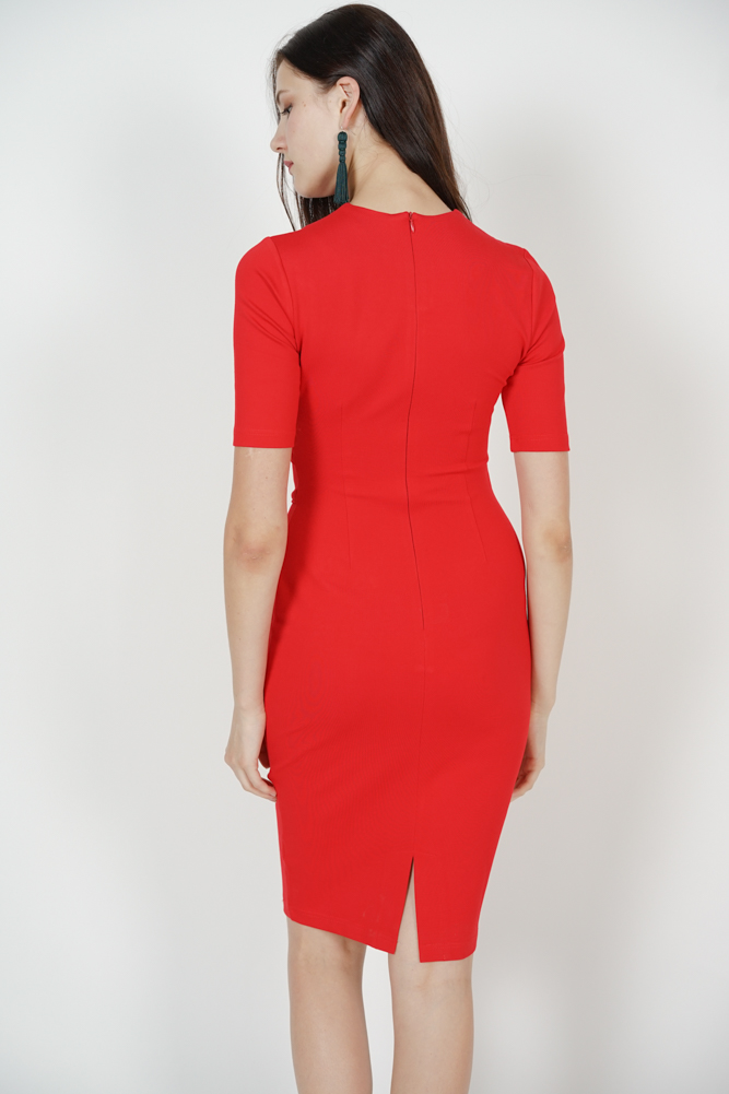 Paneled Bodycon Dress in Red