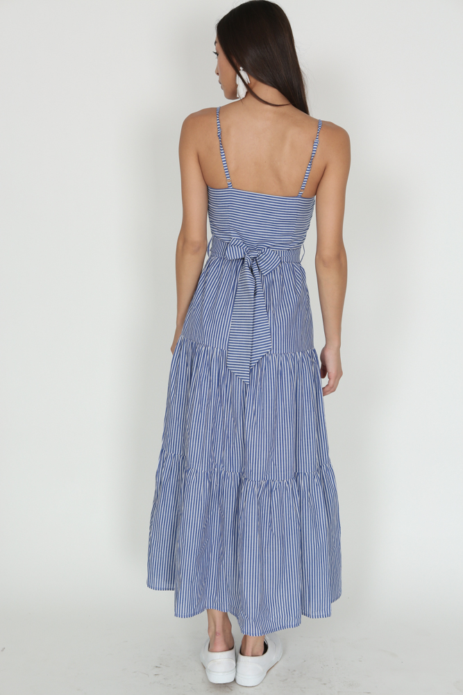 Pinstripes Gathered Dress in Blue - Arriving Soon