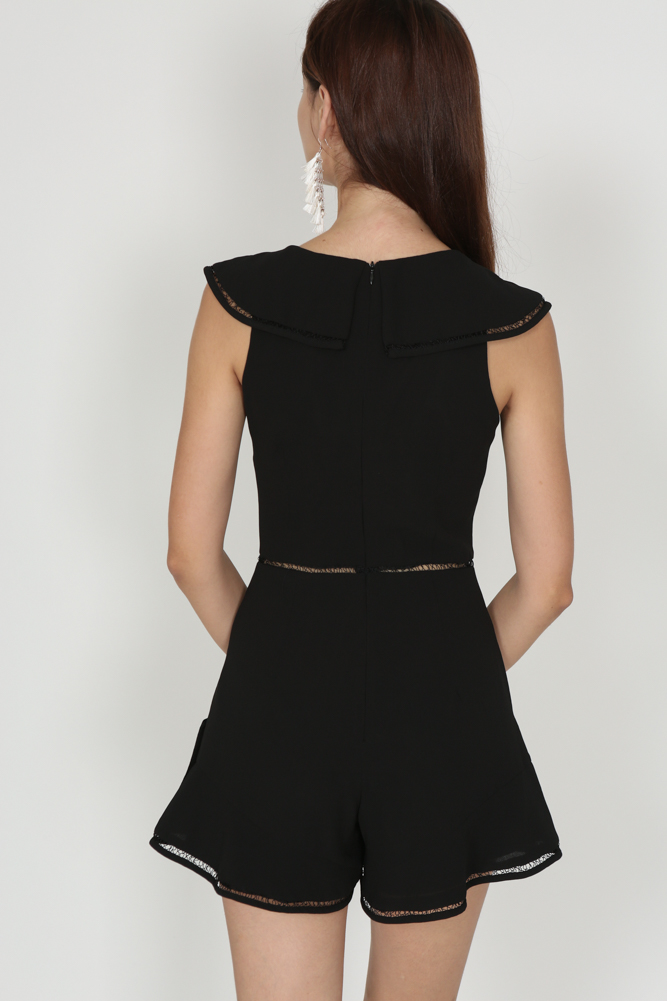 Ruffled Cutout Romper in Black - Arriving Soon