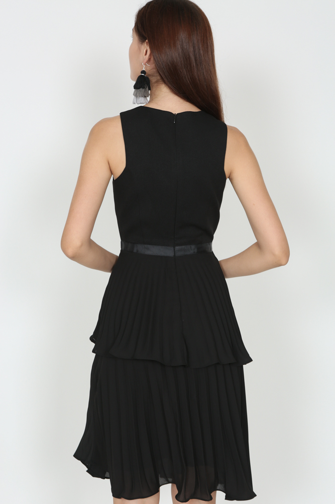 Pleated Layered Dress in Black - Arriving Soon
