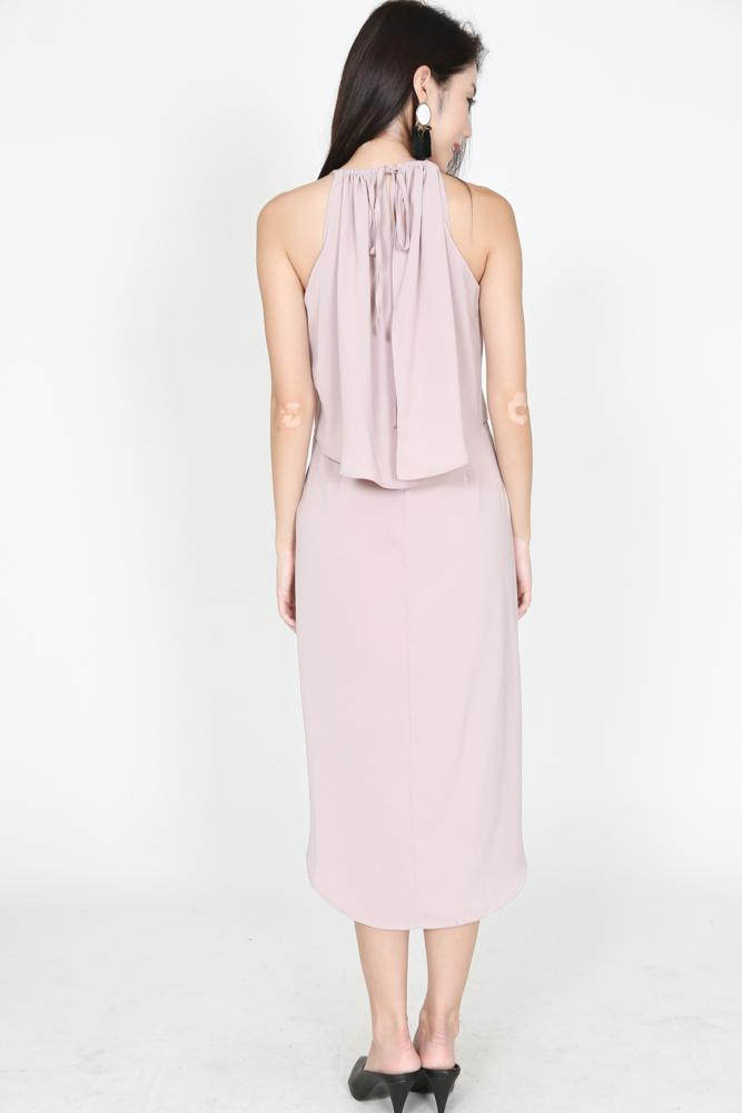 Asymmetric Pleated Dress in Mauve - Arriving Soon