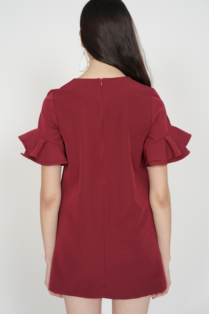 Flared-Sleeved Dress in Oxblood