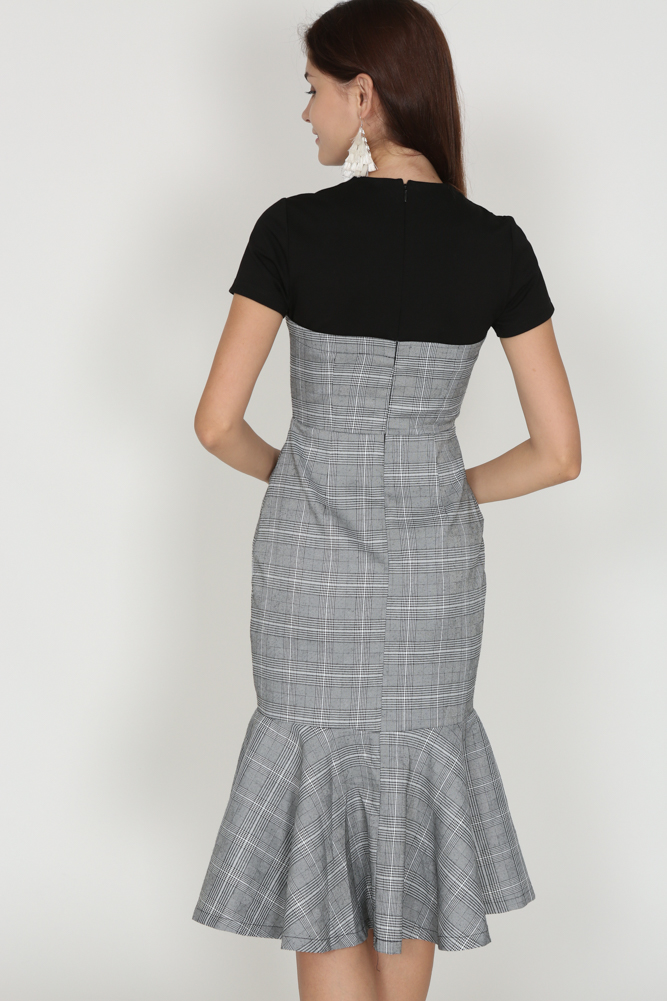Flap-Over Flare Dress in Checks - Arriving Soon