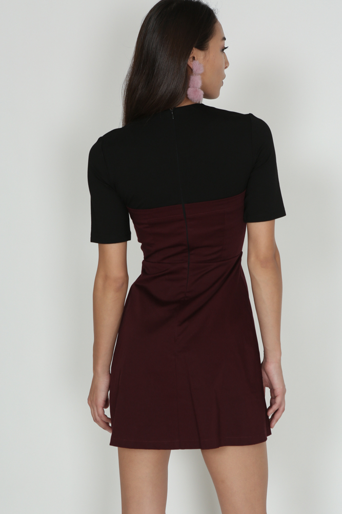 Buttoned-Down Flap Dress in Maroon