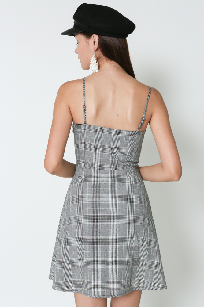 Lace-Up Cami Dress in Checks - Arriving Soon