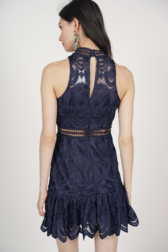 Halter Lace Dress in Midnight