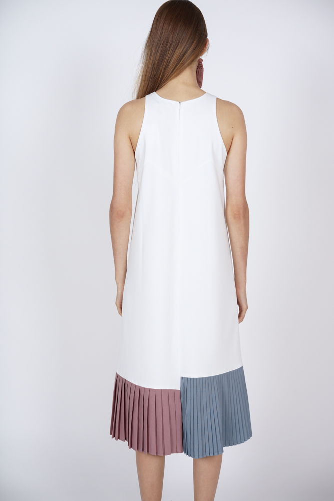 Contrast Pleated Dress in Ivory - Arriving Soon