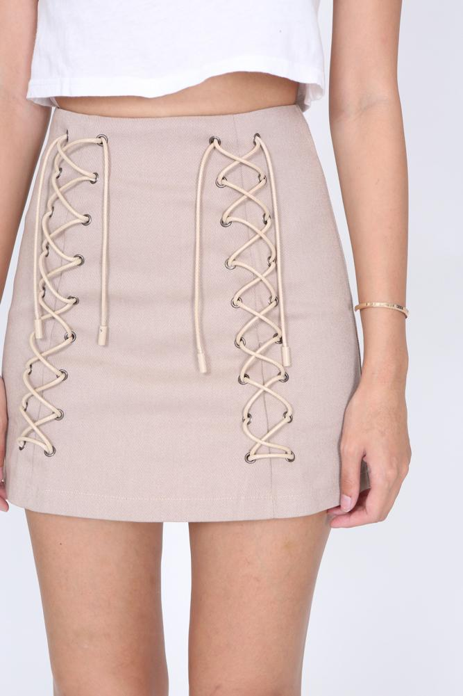 Lace-up Denim Mini Skirt in Beige