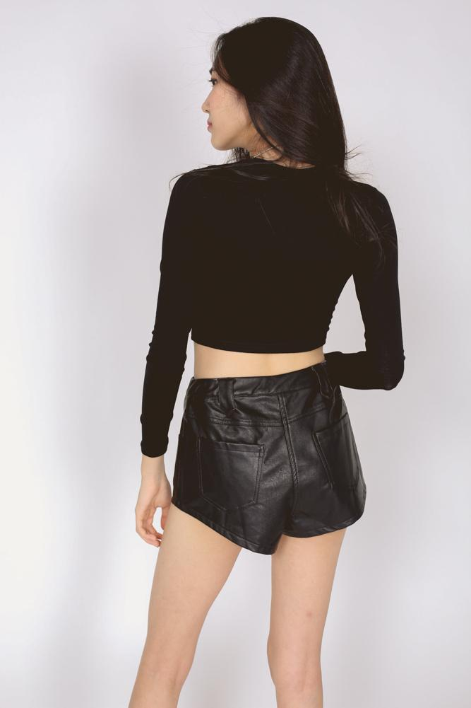 Lace-Up Leather Shorts in Black
